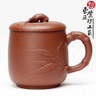 紫砂茶杯 手工制作茶具 竹葉飄香紫砂杯子清水泥