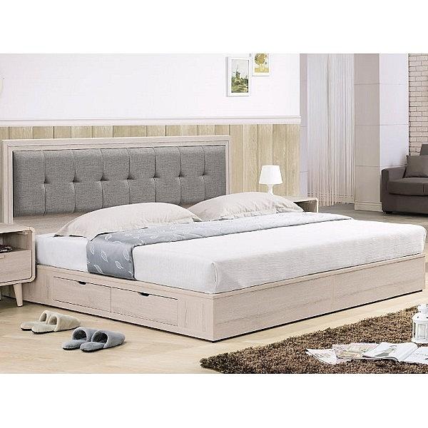 床架 TV-77-10A 艾美洗白橡木6尺二抽雙人床 (床頭+床底)(不含床墊) 【大眾家居舘】