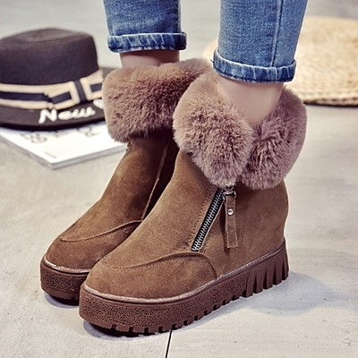 中筒雪靴-時尚百搭內增高側拉鏈女厚底靴子2色73kg70[巴黎精品]