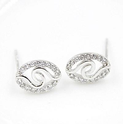 925純銀耳環(耳針式)鑲鑽-生日母親節禮物時尚精美精選女耳飾73ag25【巴黎精品】