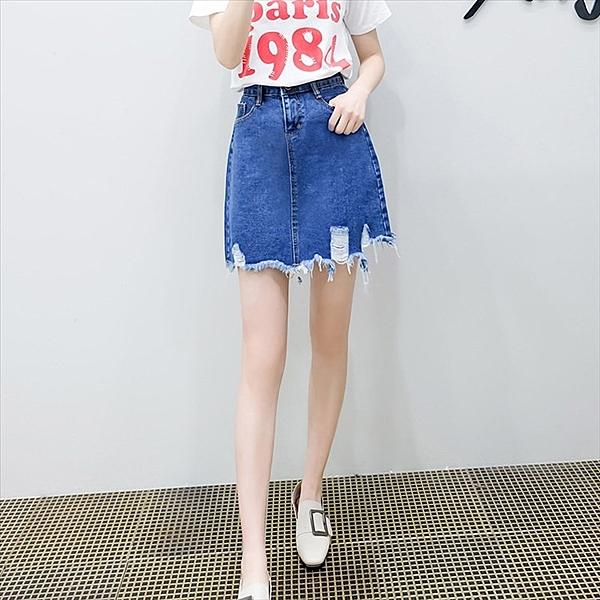 找到自己 G5 韓國時尚 實拍 須邊 破洞 牛仔 短裙 女裙