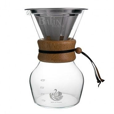 【NO.5 達人咖啡】316不鏽鋼濾網 咖啡沖泡玻璃壺(4人份)