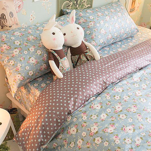 藍色小碎花 枕套乙個  100%精梳棉 台灣製