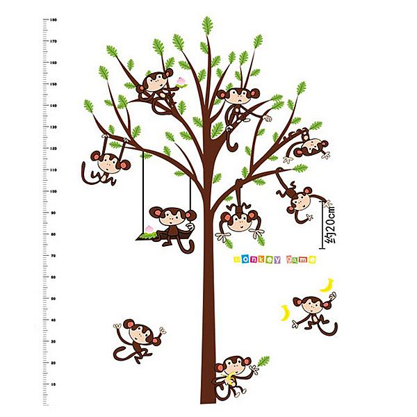 BO雜貨【YV0500-1】新款壁貼 無痕創意壁貼 兒童房 幼兒園 居家裝飾 猴子身高樹SK2006AB