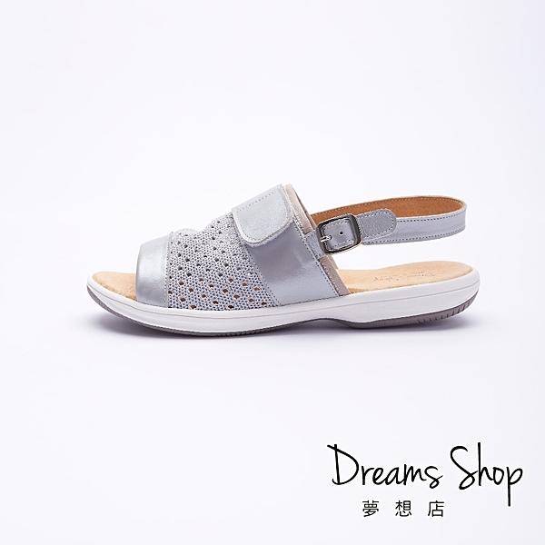 大尺碼女鞋 夢想店 MIT台灣製造針織包腳背超輕量真皮涼鞋2.5cm(41-46)【JD230】銀色
