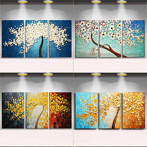 手繪發財樹油畫玄關抽象裝飾畫歐式現代客廳餐廳壁畫三聯立體掛畫WY【八折搶購】