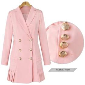 女性の大きなサイズのラペルダブルブレストプリーツドレススタイル長いブレザー Genry (Color : Pink, Size : L)