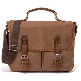 QTMIAO-Bags レトロなクレイジーホースレザーの男のバッグキャンバスショルダーメッセンジャーバッグブリーフケース (Color : Coffee)