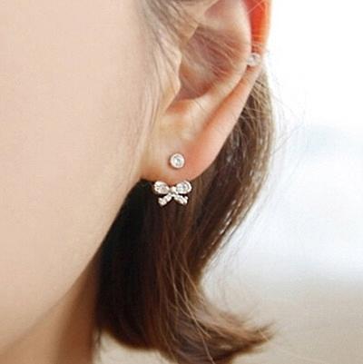 925純銀耳環 鑲鑽(耳針式)-有型蝴蝶結生日母親節禮物女飾品3色73ag179【巴黎精品】