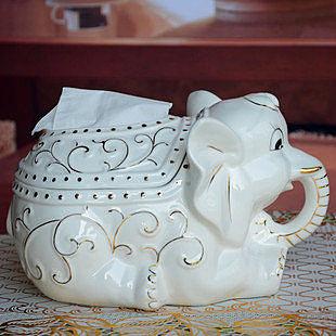 陶瓷白大象創意紙巾盒