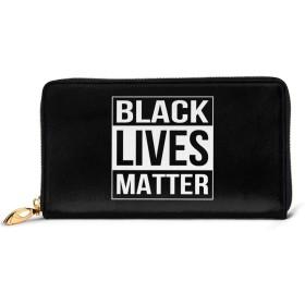 ブラック・ライブス・マター レディース 財布 カワイイ 長財布 カード 本革 大容量 12枚 磁気防止 ギフトボックス付き