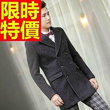 男款外套毛呢防寒帥氣-經典有型格紋雙排扣男大衣61x66【巴黎精品】