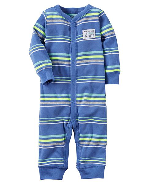 【美國Carter's】長袖連身衣- 蔚藍條紋 115G233