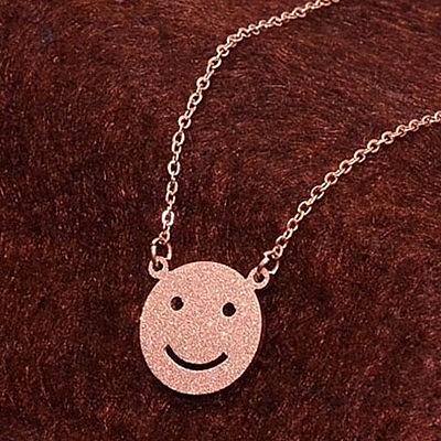 玫瑰金純銀項鍊-可愛磨砂笑臉時尚生日母親節禮物女飾品71x167【巴黎精品】