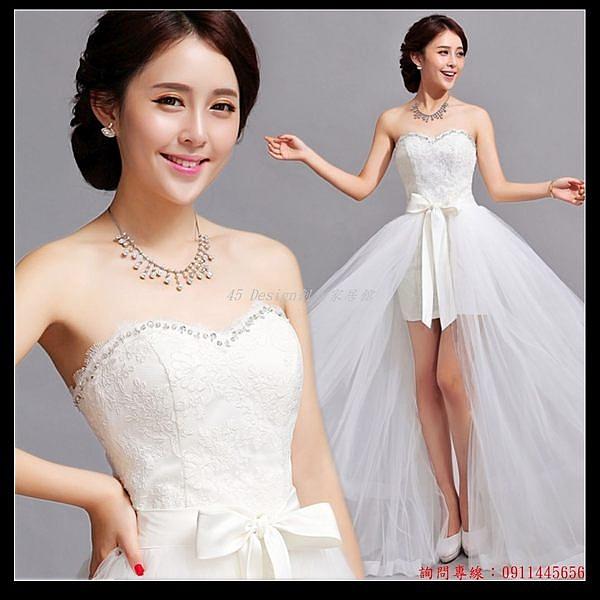 (45 Design) 訂做款式7天到貨  兩穿 韓式韓版公主新娘前短後長可拆卸拖尾婚紗禮服