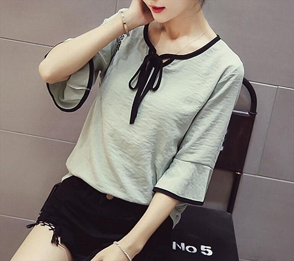 找到自己 MD 韓國時尚 女 休閒 圓領系帶 喇叭袖 雪紡襯衫 上衣 七分袖襯衫
