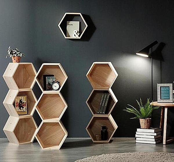 Z-書架書櫃客廳個性展示架陳列架六邊形落地組合兒童創意置物裝飾架【三個帶背板】