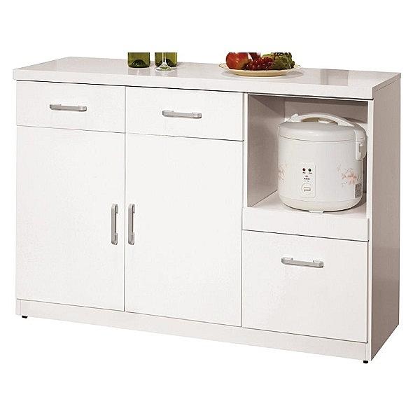櫥櫃 餐櫃 QW-847-5 祖迪白色4尺碗碟餐櫃下座【大眾家居舘】