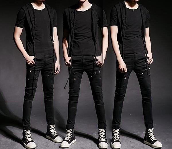 找到自己 MD 韓國 潮 男 街頭 夜店 髮型師 修身 連帽短T 套裝 上衣+鉚釘牛仔褲 特色短T