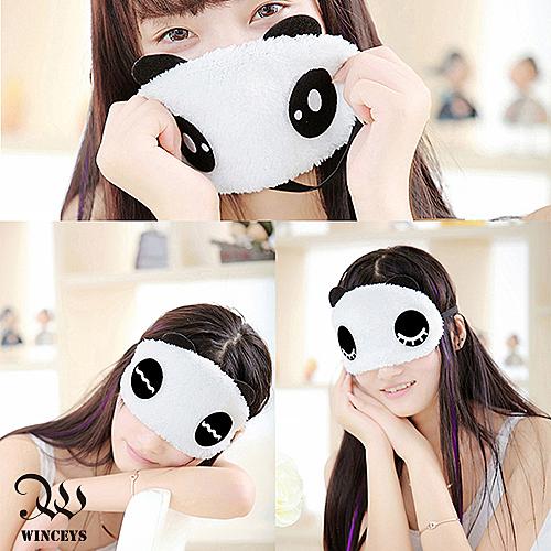 兩用眼罩-毛絨大眼睛熊貓冰熱-WINCEYS