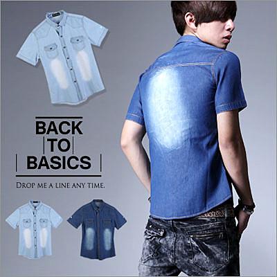 ∥柒零年代∥Fanaticism【N7810J】早春韓系新品車線設計視覺刷白短袖牛仔襯衫外套(JK0001)
