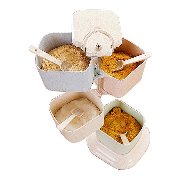 家用創意北歐風立式可旋轉式調料盒套裝調味品收納盒廚房調料罐【八折搶購】