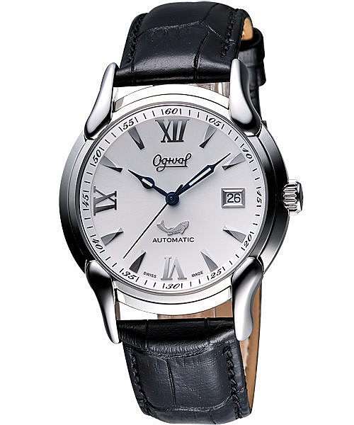 Ogival 愛其華 旗艦復古機械腕錶-銀/黑 1950-2AGS皮