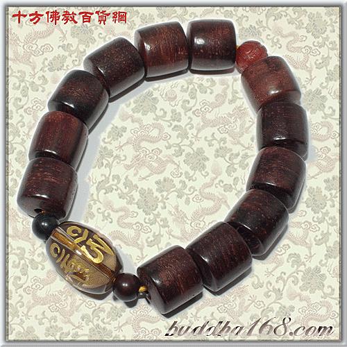 六字真言{茶晶}&紫檀輪型手珠12mm+平安小佛卡 【十方佛教文物】
