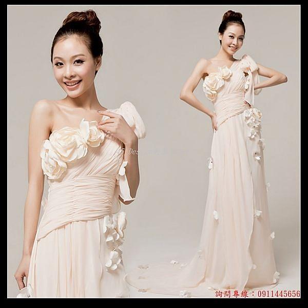 (45 Design  )   7天到貨  晚禮服長款 婚紗禮服 時尚結婚敬酒服 新娘伴娘單肩斜肩修身