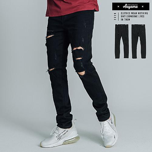牛仔褲 多重刀割破壞極致黑單寧彈力牛仔褲【K6617】休閒褲