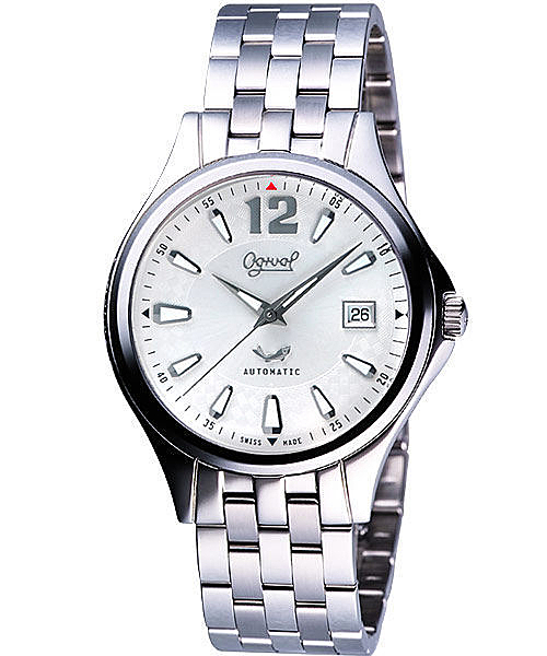 Ogival 愛其華 經典時刻自動上鍊機械腕錶 銀 40mm 829-24AGS