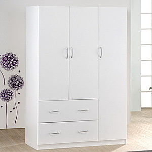 【Hopma】三門二抽衣櫃/衣櫥/櫃子-時尚白