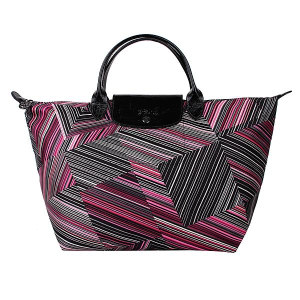 Longchamp幾何風格錯視條紋短提把中型水餃包(紅色)480536-545