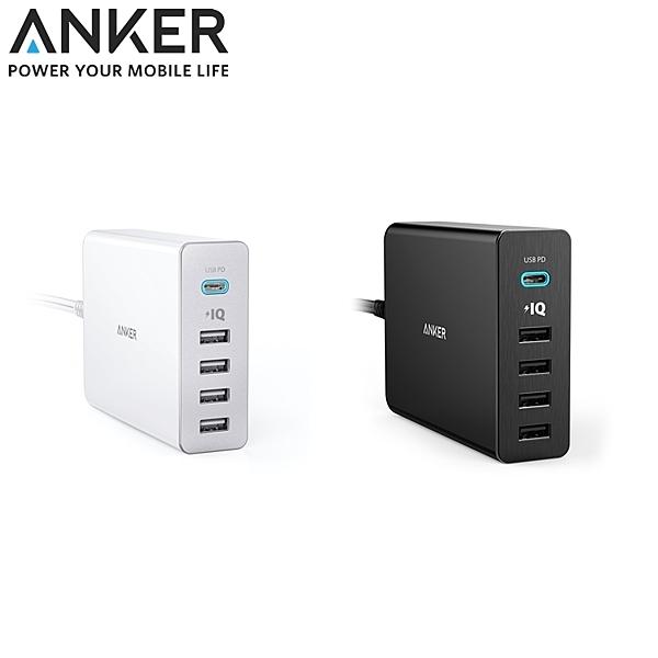 又敗家@美國Anker充電座60W 5孔Port座充TYPE-C快速充電器智慧PowerIQ USB壁充電頭充電座