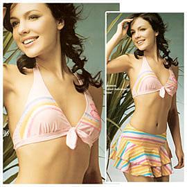 柔美亮麗三件式比基尼女泳裝三件式泡湯SPA泳衣3件式游泳裝.三點式比基尼推薦哪裡買專賣店