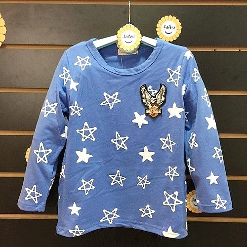 ☆棒棒糖童裝☆(17692)秋冬男滿版星星藍色長袖上衣 5-15