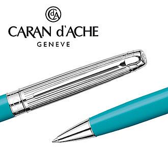 CARAN d'ACHE 瑞士卡達 LEMAN 利曼碧藍漆原子筆(銀蓋) / 支