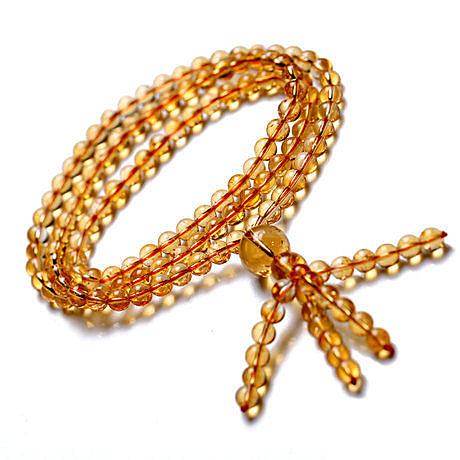 開光黃水晶手鏈 佛珠 成色稀有