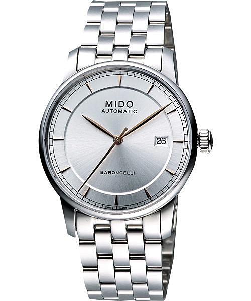 MIDO 美度 Baroncelli II 爵士時尚機械手錶-銀 M86004101