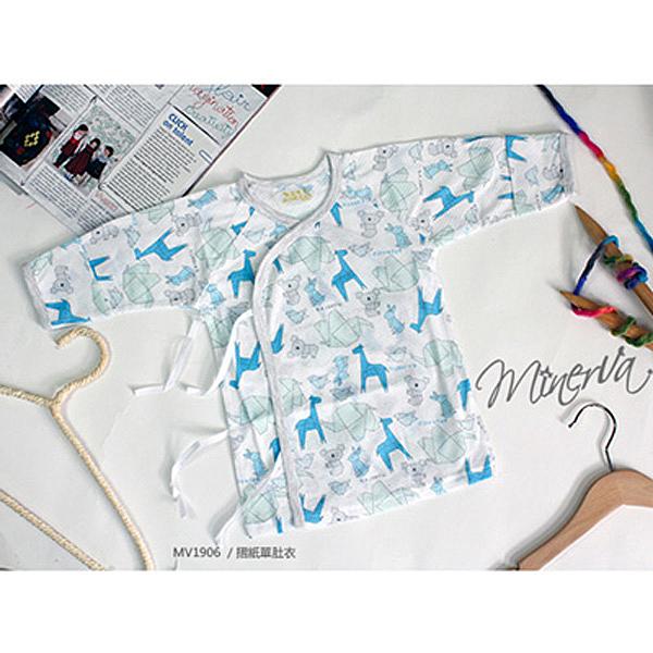 米諾娃 MINERVA 動物折紙薄長袖初生單肚衣 洞洞布系列-藍 (37.5/42.5)