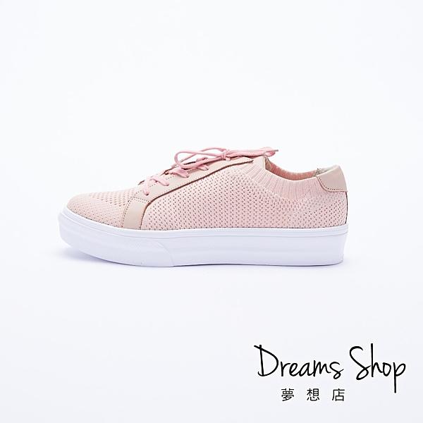 大尺碼女鞋 夢想店 MIT台灣製造街頭流行百搭綁帶輕量厚底小白鞋4cm(41-45)【JD701】粉色