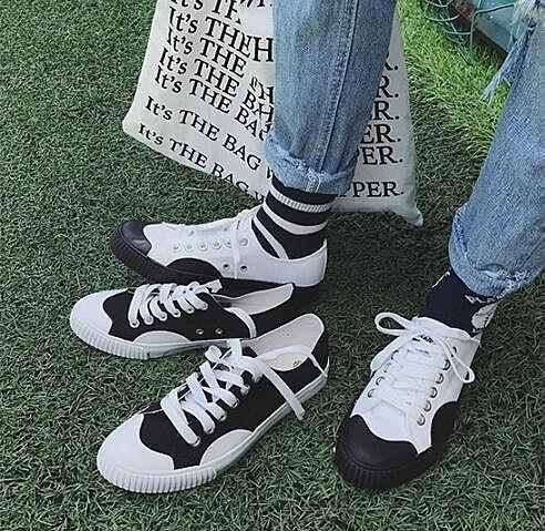 流行時尚黑白撞色帆布鞋 原宿風 休閒鞋 板鞋