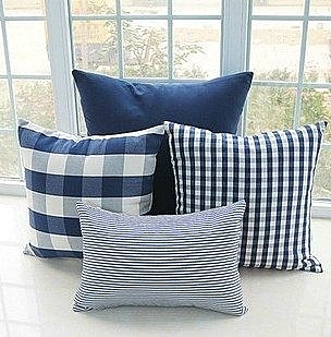 簡約時尚海軍藍格子純棉麻抱枕 腰枕 靠背枕 (45x70cm)