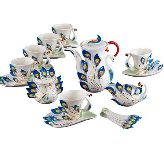 陶瓷咖啡杯茶具20套裝 - 藍色
