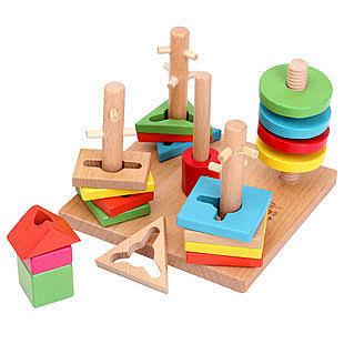 實木制兒童五彩五柱智慧套柱積木