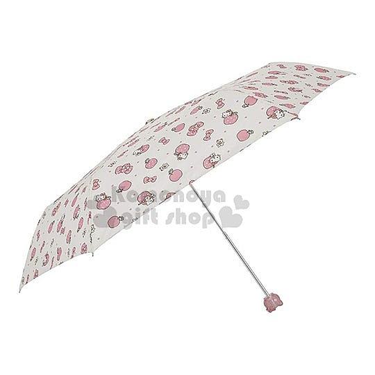 〔小禮堂〕Hello Kitty 頭型柄折疊雨陽傘《黃粉.蘋果》折傘.雨傘.雨具 4547128-18008