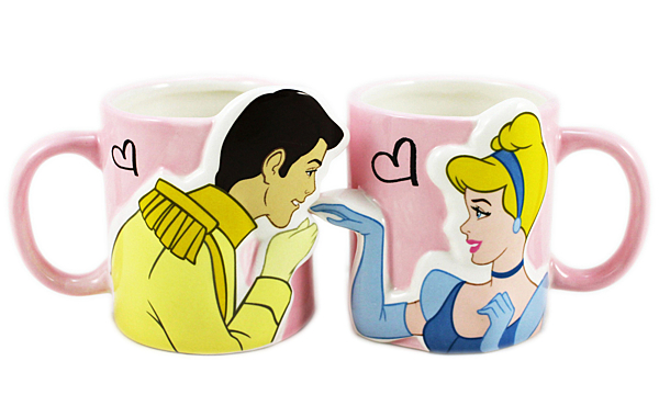【卡漫城】 灰姑娘 情人 對杯 ㊣版 日版 馬克杯 情侶 3D 造型 立體 Cinderella 王子 仙杜瑞拉 陶瓷杯