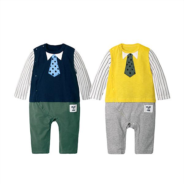 長袖連身衣 領帶 假三件 男寶寶 女寶寶 爬服 哈衣 Augelute Baby 70056