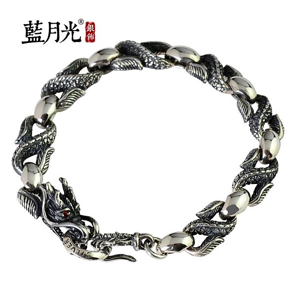 [超豐國際] s925銀飾品復古泰銀龍頭龍紋銀手鏈男士個性霸