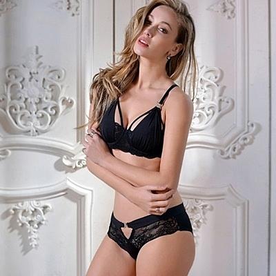 蕾絲內衣套裝(胸罩+內褲)-歐美超薄調整型半罩性感內衣3色73ho87【時尚巴黎】